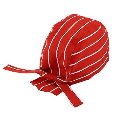 Skull Cap Professional Catering Chefs Hat Bandana (Red and white striped) O3U8