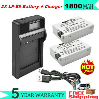 2X 1800mAh LP-E8 Battery + LCD Charger For Canon Rebel T2 Kiss X5 EOS 550D 600D