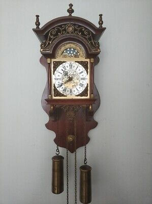 Dutch WUBA Warmink Sallander ZAANDAM Wall Pendulum Clock with Moonphase