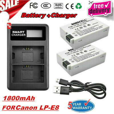 2X 1800mAh LP-E8 Battery + LCD Dual Charger For Canon EOS 550D 600D Kiss X4 T3i