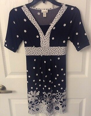 Limited Too BLack And White Polka Dot & Floral Girls Dress Size 14