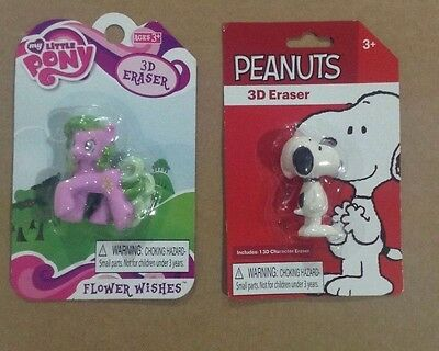 3D Eraser My Little Pony -Flower Wishes or Peanuts- Snoopy NIP