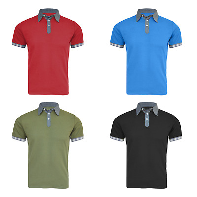 Mens Polo Shirt Short Sleeve Plain Pique Collar Golf T-Shirt Top Size S-M-L-XL