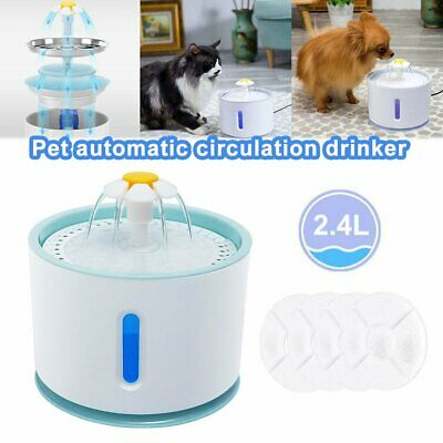 LED USB Automatic Electric Pet Water Fountain Dog Drinking Dispenser 2.4L QC