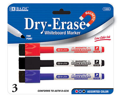 Bazic Whiteboard Marker Pens Dry Wipe Erase Magnetic Eraser Markers