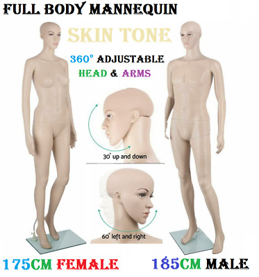 175cm Female / 185cm Male Mannequin Dummy Adjustable Detachable Display Showcase