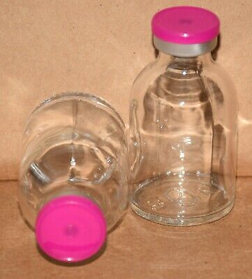 USP 30 mL Clear Sterile Vial With Fuchsia Pink Plain Flip Off Seal ANY QTY