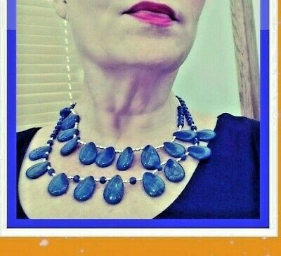 2 Vintage Egyptian Lapis Style Teardrop Necklaces Sterling Silver Stunning!