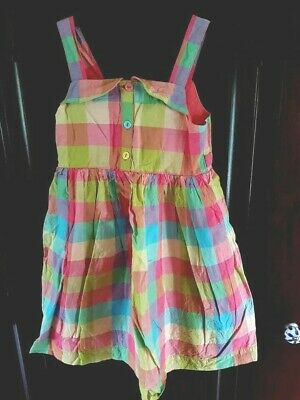 M & S Indigo Collection - Girls Summer Dress - Age 5 - 6 Yrs - Bright Check