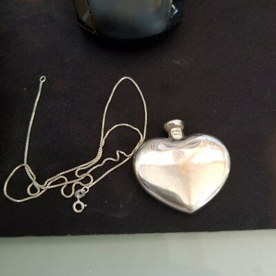 TIFFANY STERLING SILVER HEART PERFUME FLASK W/ FUNNEL FREE 18'' Sterling Chain