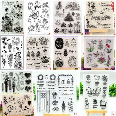 Transparent Plant Flower Silicone Clear Stamps DIY Scrapbook Embossing Garden