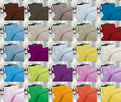 Cotton Blend Plain Dyed Duvet Cover Set With Pillow Cases SINGLE DOUBLE KING