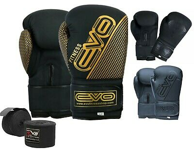 EVO Maya Leather Boxing Gloves GEL MMA Punch Bag Sparring Muay Thai Fight UFC