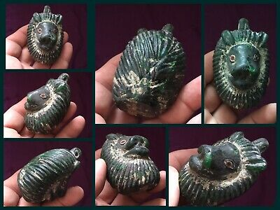 Very rare ancient Lion Head Phoenician Heavy Green glass Head Offering c300/500