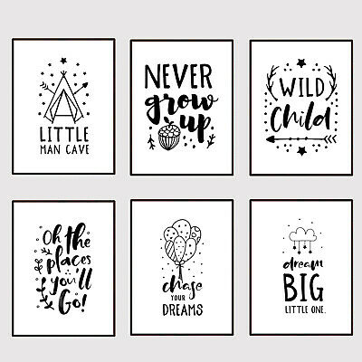 Nursery Child Bedroom Wall Art Prints Decor Pictures Baby Boy Girl Toddler Grey