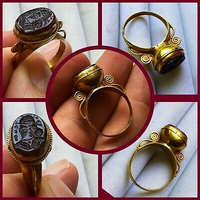 Rare ancient Roman Near Eastern carnealian Solidgold seal ring , 2nd to 4th Cent
