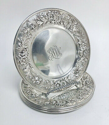 Kirk & Son Sterling Dessert Plates In Repousse Set of Four