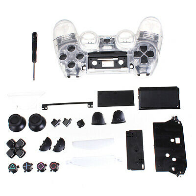 Clear Shell Full Housing case Controller Replacement cover for PS4 Playstat V1V6