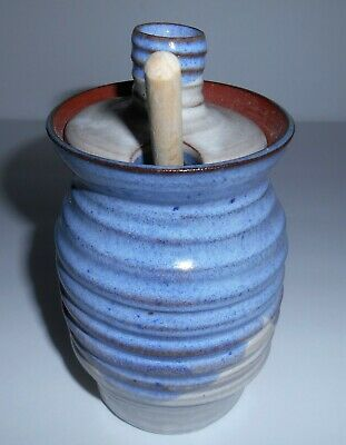 Handmade Ceramic Stoneware Honey Pot Signed With Wooden Dipper 1998