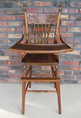 ~ Antique Pressed Back Oak High Chair ~ Press Back Highchair ~ Excellent ~