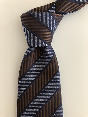 a68e4e65 NEW 2019 ERMENEGILDO Zegna Tie AMAZING DESIGN Blue/Brown Slim Silk Italy