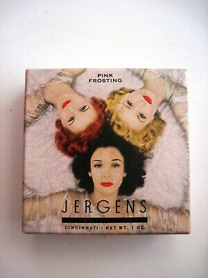 "Rare Vintage Art Deco Era ""Jergens"" Powder Box w/ Unused Powder ""Pink Frosting""*"