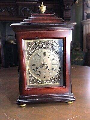 "2001 BOMBAY COMPANY QUARTZ MAHOGANY WOOD MANTLE SHELF CARRIAGE CLOCK - 11"" Tall"