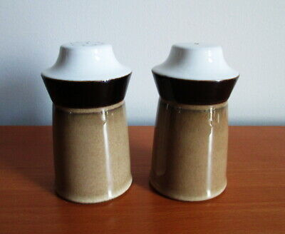 Denby Country Cuisine Salt Pepper Shakers Pots Tan Brown Stoneware 1980s England