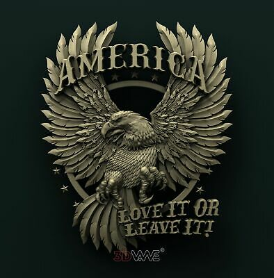 3d STL Model Relief for CNC Router _ American Eagle _0396