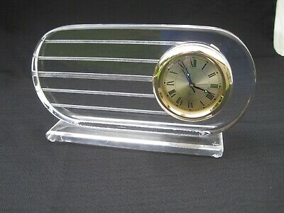 RARE, Signed Hivo VAN TEAL Modern Carved Lucite Acrylic Clock Works!