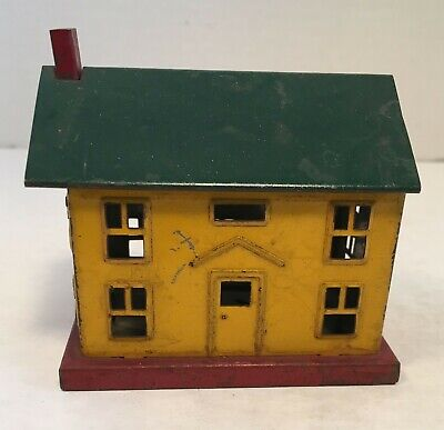 vintage Red Yellow & Green Tin House Bank