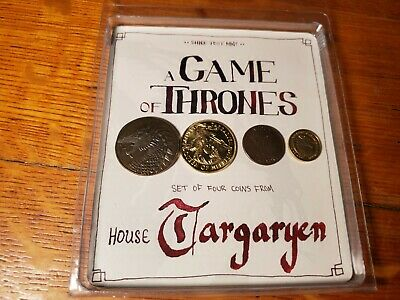 Game of Thrones Set of 4 Collector Coins House Targaryen  Shire Post Mint - NEW!