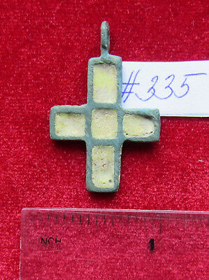 Viking Bronze double-sided cross pendant with enamels. Kiev Rus 10-12 AD. #335.