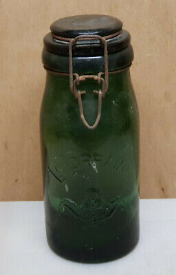Antique Jar Glass Green Dark La Lorraine 33.8oz N°8 with Thistle Canned Food