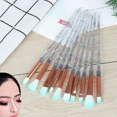 10PCS Diamond Eyeshadow Eyebrow Blending Brush Set Eye Make-up Brushes>e