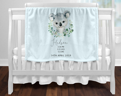 Personalised Baby Blanket Newborn Gift  Keepsake Blue Koala Birth Stats
