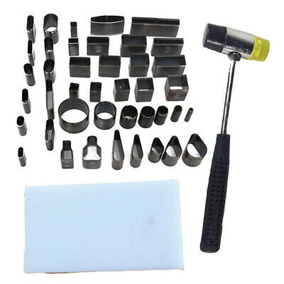 Leather Craft Diy 39 Shape Style Hole Hollow Cutter Punch +Pad +Hammer Hand