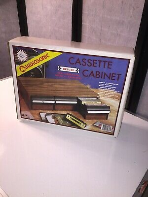 Vintage New In Box retro music cassette storage case 3 drawers holds 42 tapes