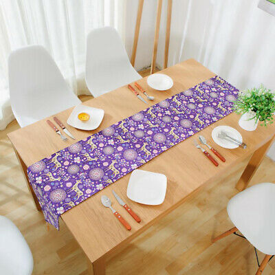 Lovely Deer Print Table Runner Cotton Linen for Home Party Banquet Decoration