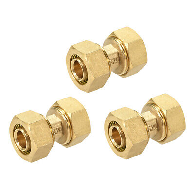 Brass Compression Tube Fitting for 16mm Tube ID 20mm Tube OD Gold Tone 3pcs
