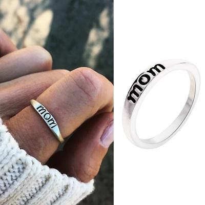 Silver Plated Mother Father Gifts Mom Dad Letter Engraved Fashion Finger Rings