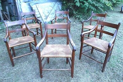 Set Of 6 Colonial Style Rush Seat Country Americana Ladderback Armchairs