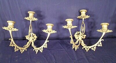 PAIR OF EARLY 20th CENTURY 3 ARM SOLID BRASS CANDLE SCONCES