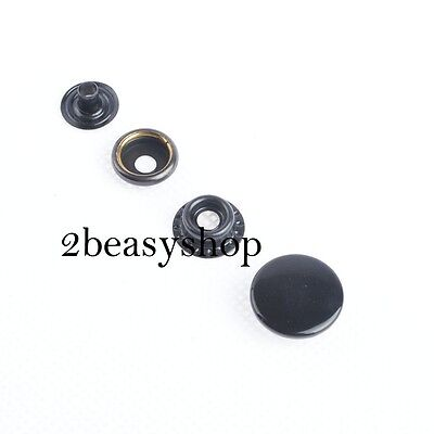Heavy duty Black Snap Fasteners Press Studs Leather Craft 12.5/15/17mm Buttons