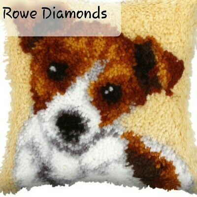 DIY Cute Jack Russell Dog Puppy Make your own Latch Hook Pillow cushion cover