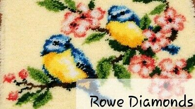 DIY Cute Blue tit birds and blossom trees Make your own Rug Latch Hook Craft New