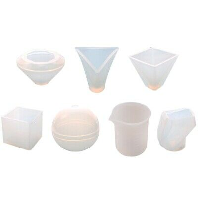 7Pcs Large Casting Molds Silicone Paperweight Molds Including Sphere/Pyramid/S