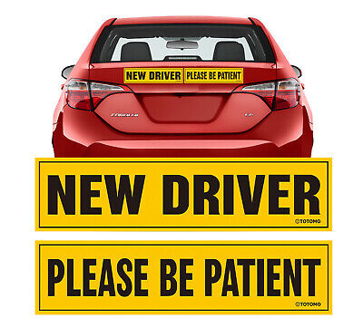 New Driver Please be Patient Car Magnet Sign Sticker Student Rookie Teen Permit