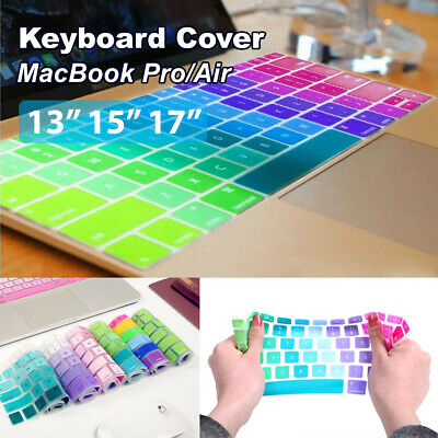 "Colorful Keyboard Silicone Cover Case Protect For MacBook Air/Pro 13"" 15"" 17"""