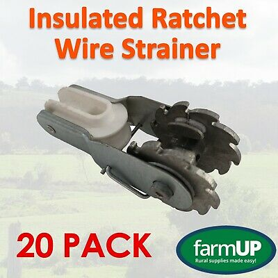 20x Permanent Insulated Ratchet Wire Strainer - Electric Fence New